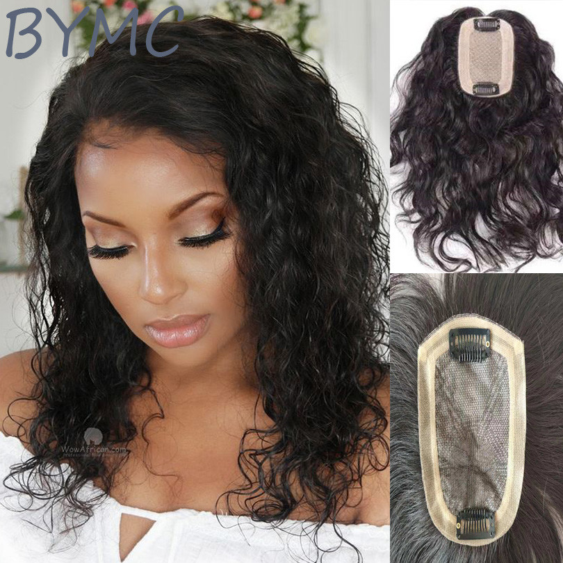 BYMC Full Silk Injected Base Loose Wave Human Hair Topper Hair Pieces For Thinning Hair And Baldness Patches