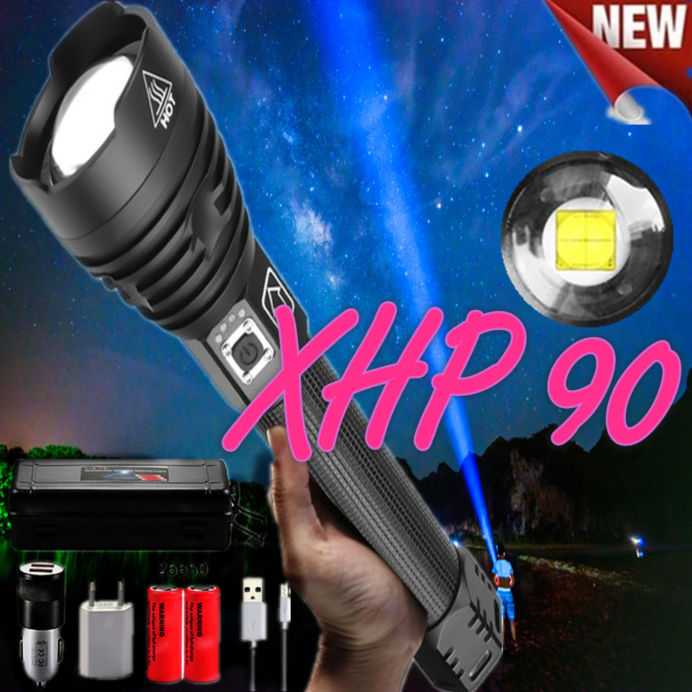 Support Drop Shipping XHP 90 Flashlight Powerful Led Flashlight Powerful Tactical Flash Light Torch For Camping 26650 Battery