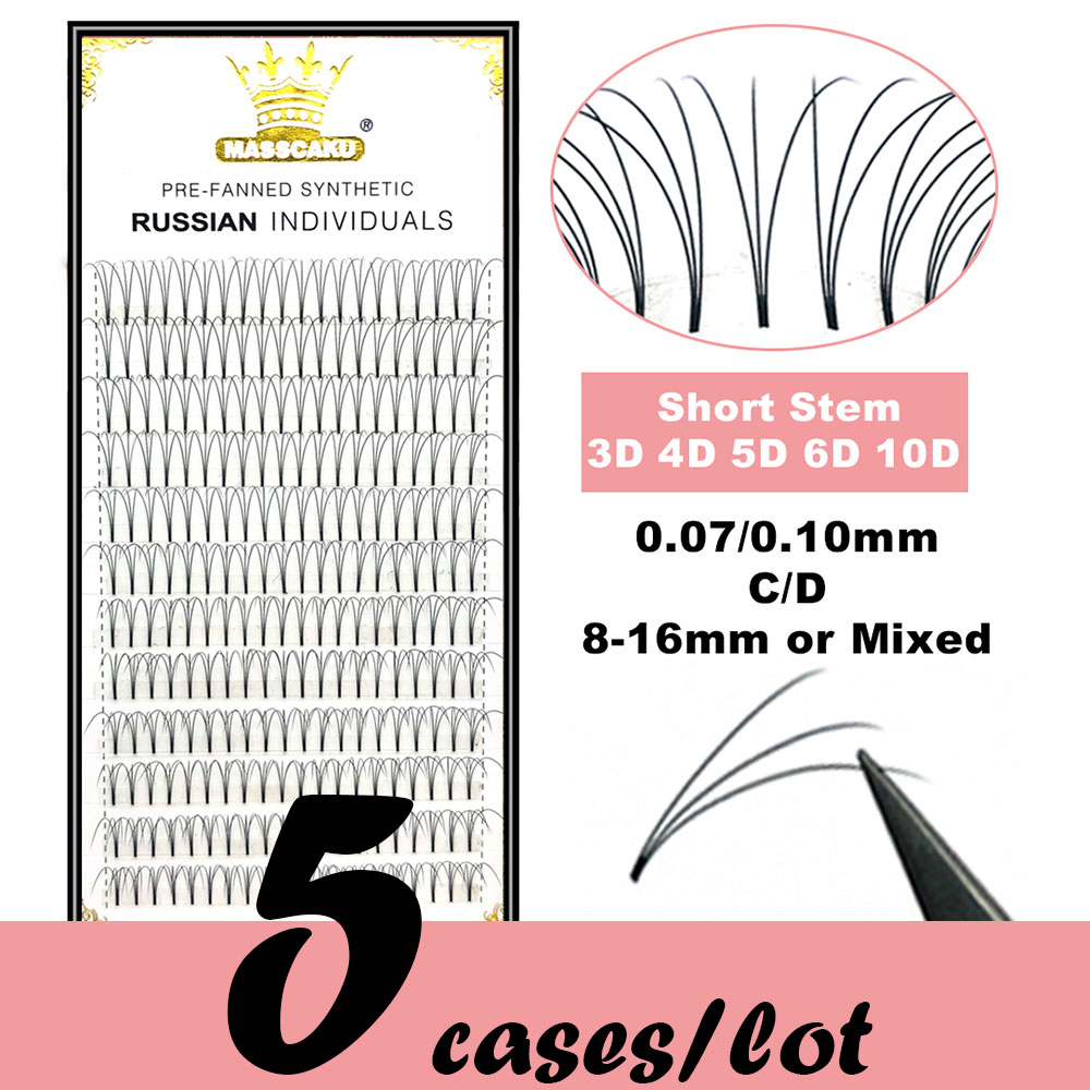 5 Cases/lot High Quality 3d/4d/5d/6d/10d Short Stem Eyelashes Pre Made Volume Fans Premade Russian Volume Eyelash Extention