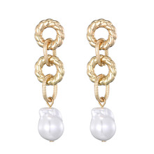 New Trendy Pearl Earrings For Women Grils Geometric Irregular Long Chains Dangle Earrings Pendientes Fashion Party Jewelry Gifts new design matte metal gold heart pearl drop earrings for women geometric irregular long dangle earrings wedding party jewelry