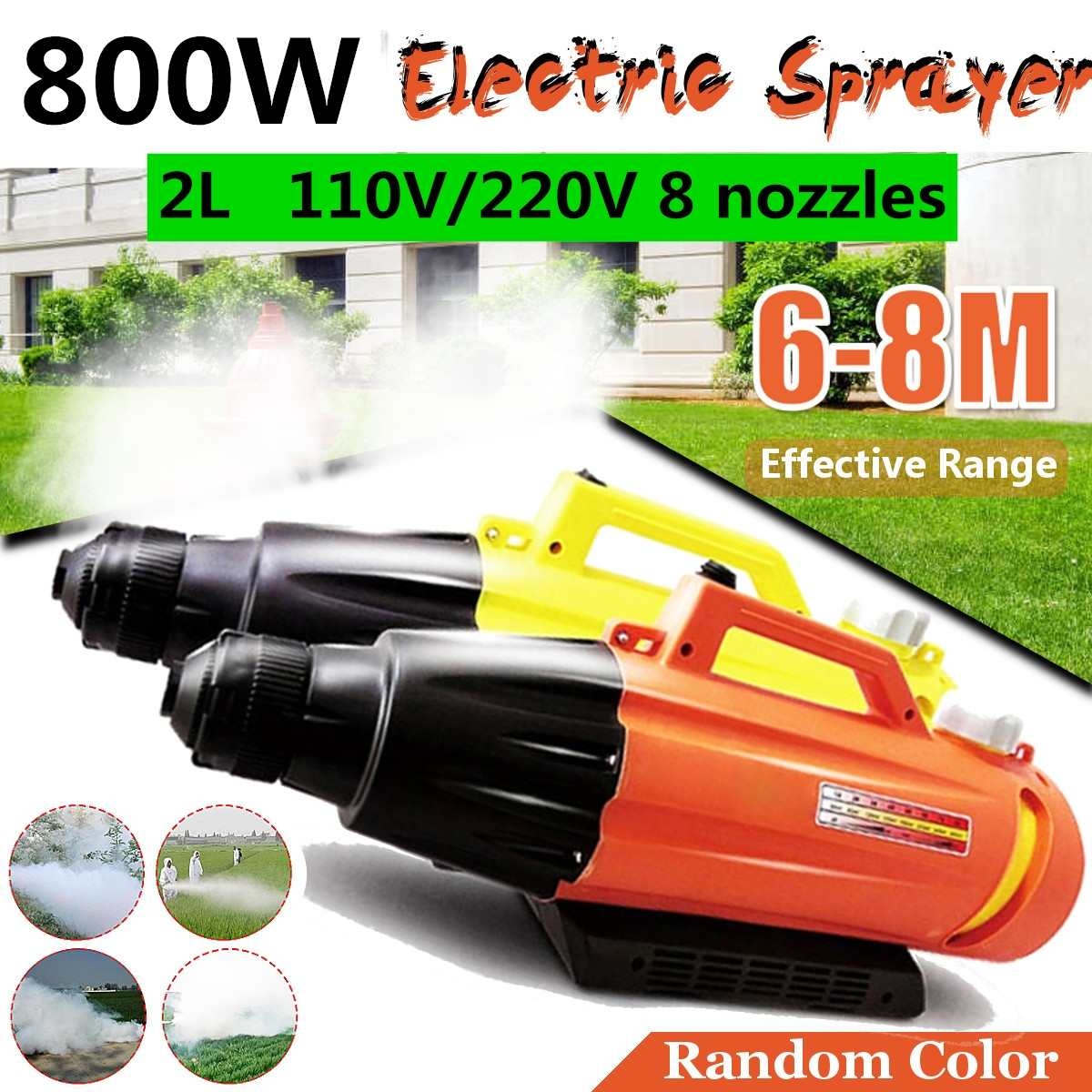 110V 220V 800W 2L Electric ULV Fogger Sprayer Disinfectant Portable Aerosol Sprayer Anti-Epidemic Nebulizer 8 Nozzles Farming
