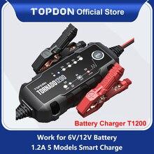 Topdon T1200 otomatik pil şarj aletleri 6V 12V araç pil şarj motosiklet pil şarj aletleri için kurşun asit lityum pil