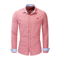 New European And American Men's Casual Long Sleeve Shirt Solid Color Cotton Shirt Lapel Men's Autumn Shirt Embroidered Craft Top