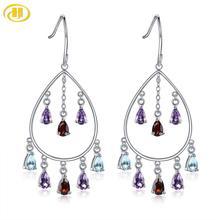 Hutang Colorful Gems 925 Silver Drop Earrings Solid 925 Sterling Silver Geniune Garnet Amethyst Blue Topaz Fine Elegant Jewelry