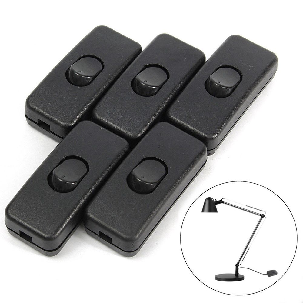 Wholesale 5Pcs/lot Black Inline ON/OFF Table Lamp Desk Light Cord Cable Switches Classic Simple Style