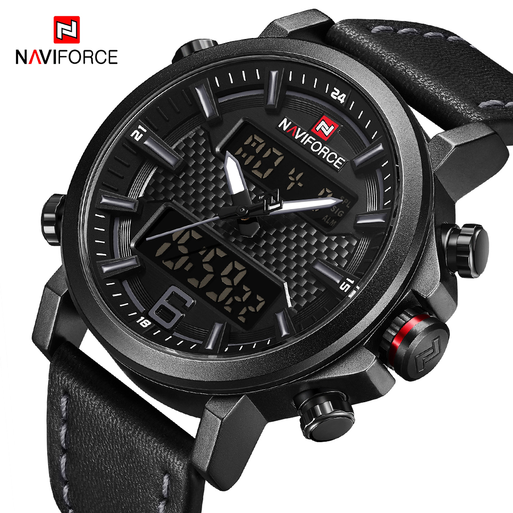 NAVIFORCE Fashion Men's Digital Analog Watch Men Luxury Brand Waterproof LED Quartz Sport Watches Army Clock Relogio Masculino