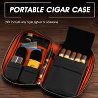 YKPuii Large Capacity Black Cigars Valuables Bag 5 Tube Leather Gadget Cedar Storage Humidor Holder Men Gift Outdoor Travel Pack