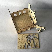 O transporte da gota de madeira eid mubarak ramadan casa festa ornamento decoração muçulmano palácio islâmico quebra cabeça caixa de armazenamento presente diy