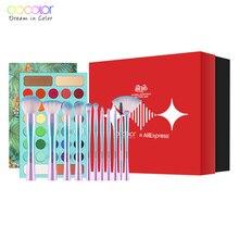Docolor Professional Eyeshadow Palette 34 Color Charming Shimmer Eyeshadow Palette and 11pcs Fantasy Make up Eyeshadow Brush Set