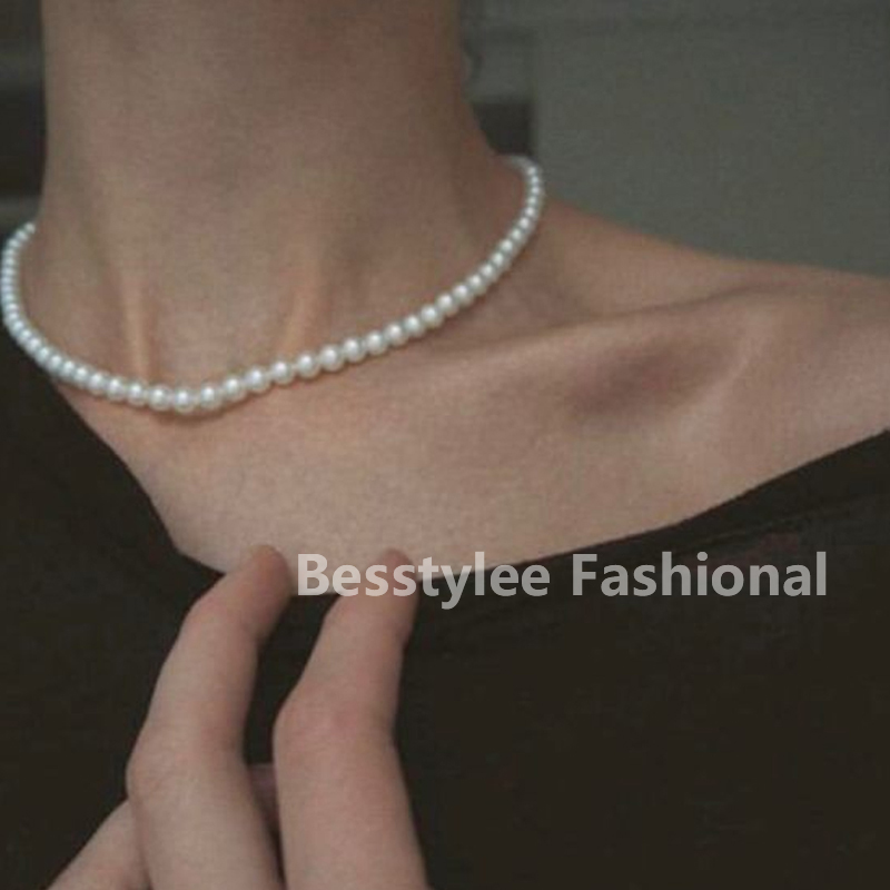 Women Fashion Vintage Pearl Necklace Party Necklace Elegant Chain Retro Accessories All Match Necklace Streetstyle Necklace