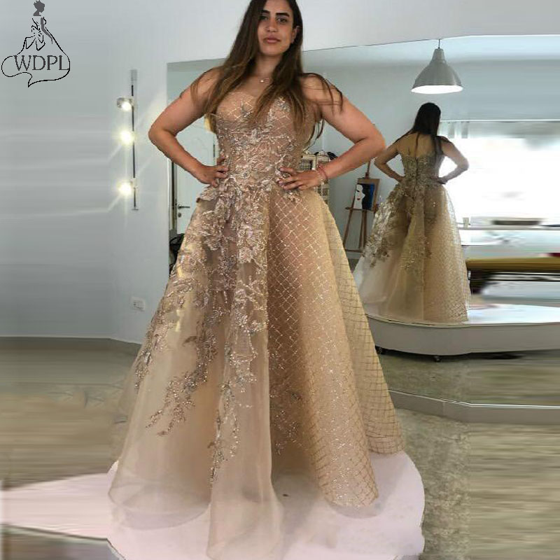 Aso Ebi 2020 Arabic Gold Luxurious Evening   Dress   Lace Beaded   Prom     Dresses   Long A Line Formal Party Gowns Special Occasion Wear