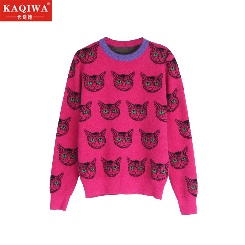 Net Red Sweater Women's 2019 New Autumn And Winter Bottoming Knitwear Korean Fashion Foreign Air Loose Cat Top