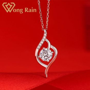 Wong Rain 925 Sterling Silver 1 CT Real Moissanite Gemstone Wedding Engagement Snowflake Pendent Necklace Fine Jewelry Wholesale