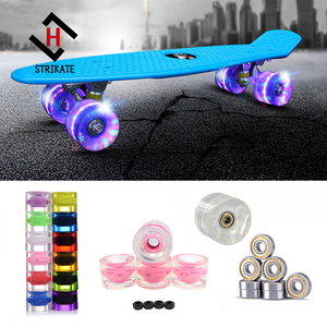 A Set of 4 Pro Longboard Wheels 70mm 78A LED 3 color Skateboard Wheels with ABEC 11 bearing and Spacers Lighting