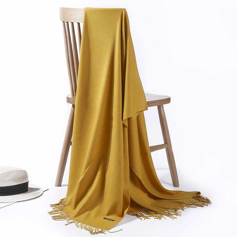 Bufanda de verano para mujer chales delgados y envolturas de señora largo sólido hijab Stoles Cachemira Pashmina Cachemira chal otoño cabeza bufandas 2019