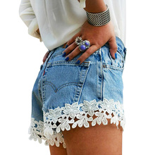 2019 Women Sexy Denim Shorts Jeans Casual Solid Lace Low Waist Skinny Zipper Fly Sexy Denim Shorts Shredded Jeans Mesh Shorts zipper up hem shredded jeans