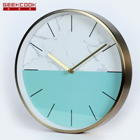 Minimalist Modern Marbling Mute Wall Clock Haitian Heterochromatic, Amazon Hot Selling Product