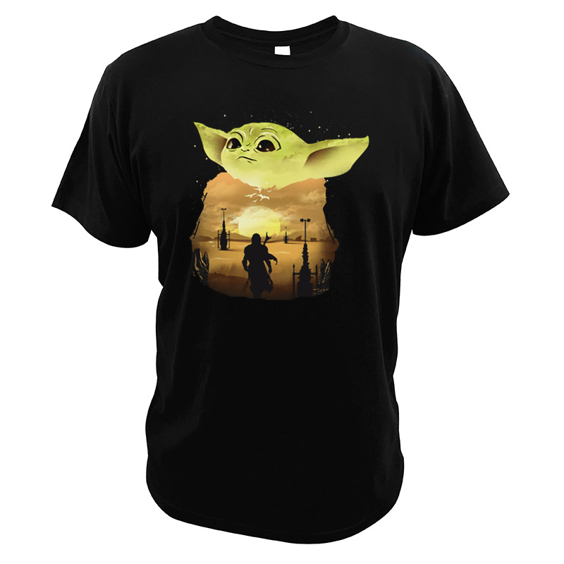 The Mandalorian T Shirts Yoda Star Wars Science Fiction Movies Sunset EU Size Tshirt High Quality O-neck Casual Tops