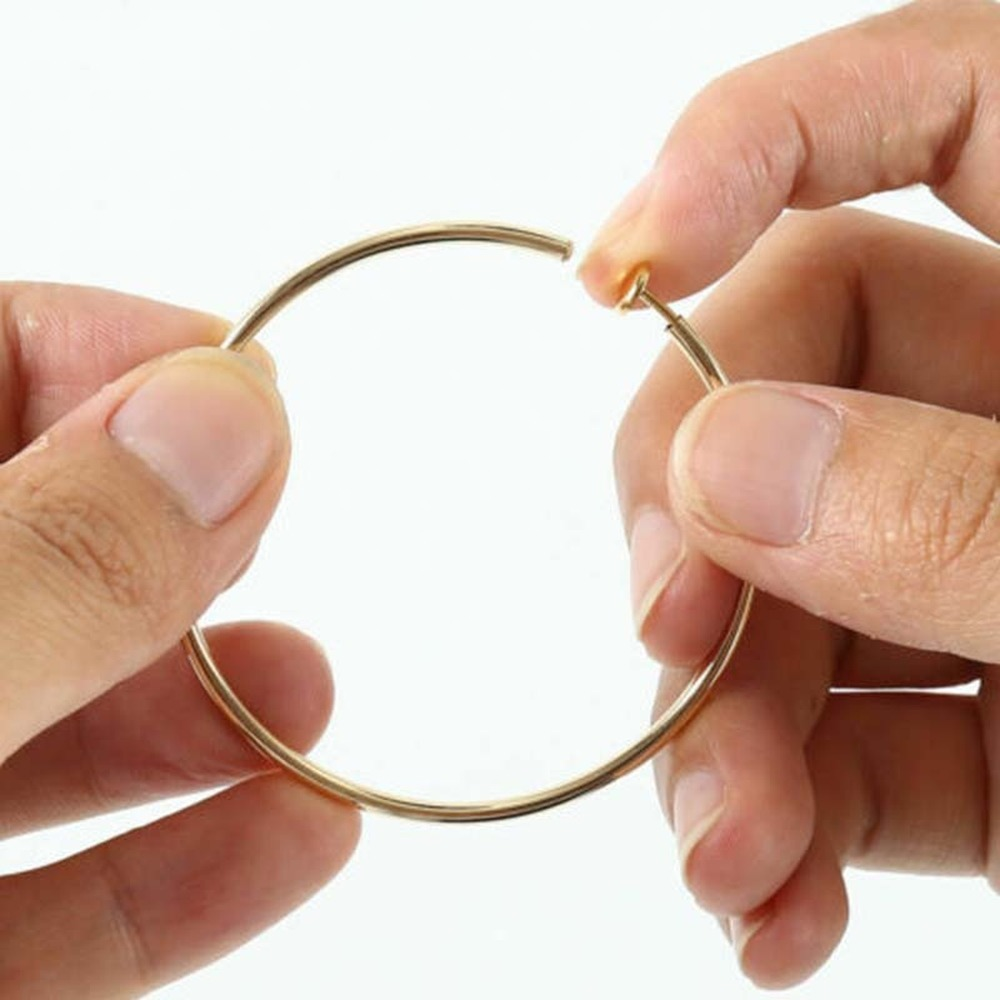 New Diameter 2/4/6cm Ear Clips Rings Punk Women Non-Pierced Hoop Earrings Houndstooth Goth Fake Clip-On Circle Earrings Jewelry