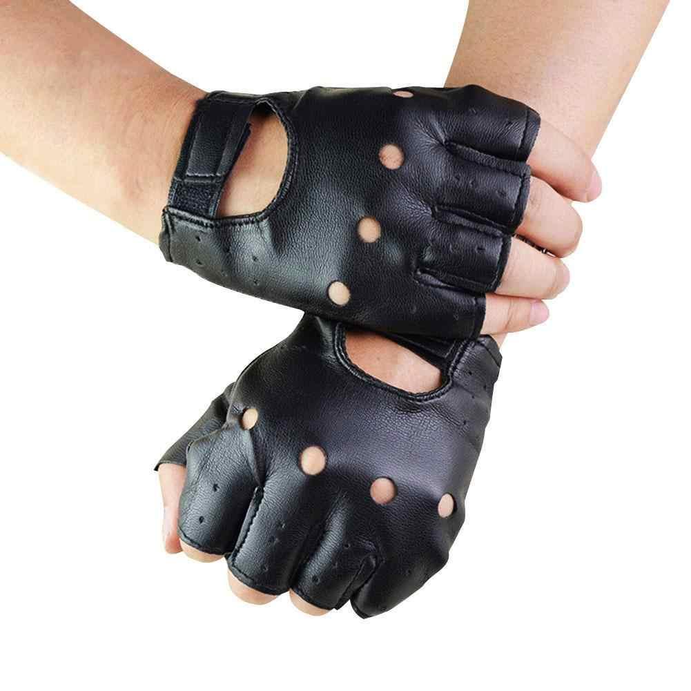 1 คู่ Unisex สีดำ PU หนัง Fingerless ถุงมือ Solid หญิงครึ่งนิ้วขับรถผู้หญิงผู้ชายแฟชั่น haulage Motor Punk ถุงมือ