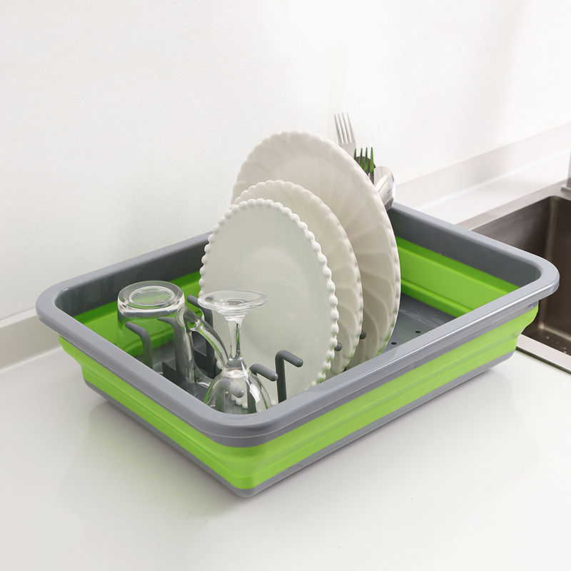 Folding DIY Silicone Dish Rack Kitchen Storage Rack Cups Bowl Stand Drainer Drying Rack Home Organizer Kitchen Sink Organizer