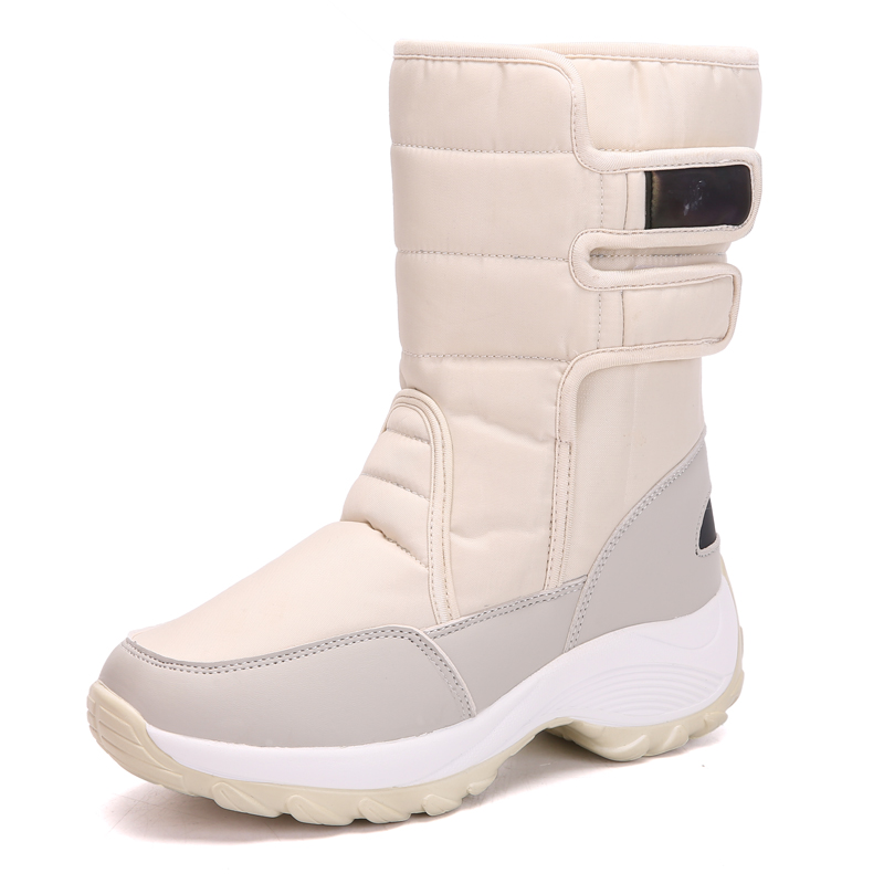 Bottes de neige femmes Chaussures hiver plat mi-mollet bottes Femme fourrure fourrure dérapage bottes d'hiver femmes grande taille chaud en peluche Chaussures Femme