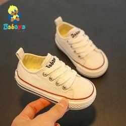 Babaya/детская обувь; парусиновая обувь для детей 1-3 лет; мягкая подошва; коллекция 2019 года; сезон весна; белая повседневная обувь для маленьких ...