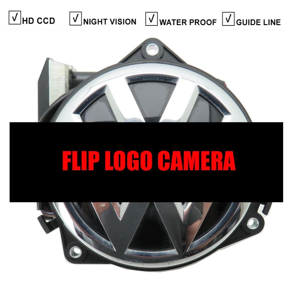Otomobiller ve Motosikletler'ten Araç Kamerası'de Araba Flip logo kamera yedekleme amblemi kamera Volkswagen VW rozeti Golf 6 5 7 Passat CC B8 B7 MK6 MK7 Polo araba logosu kamera title=