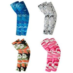 1 пара рука одежда длинным рукавом детская одежда для защиты от солнца на открытом воздухе пот абсорбент печать обложек Велоспорт Бег УФ Прохладный защитные манжеты
