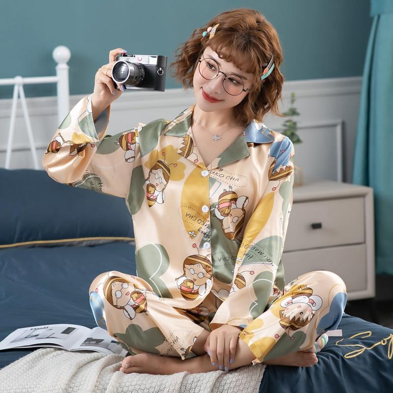 M-2XL kadın pijama seti 2021 yeni uzun kollu ipek pijama setleri kadınlar için bahar yaz baskı pijama takım salonu kadın