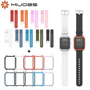 For Amazfit Bip Strap Amazfit GTS Case Smart Wristbands Wrist Bracelet Protector Case Cover Bumper in a Set for Amazfit Bip S 1