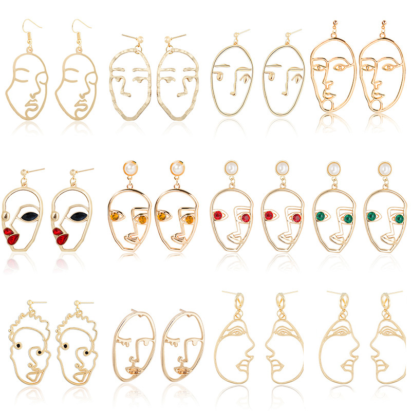 Women Simple Personality Human Face Pendant Earrings Retro Abstract Hollow Metal Fashion Earrings Jewelry
