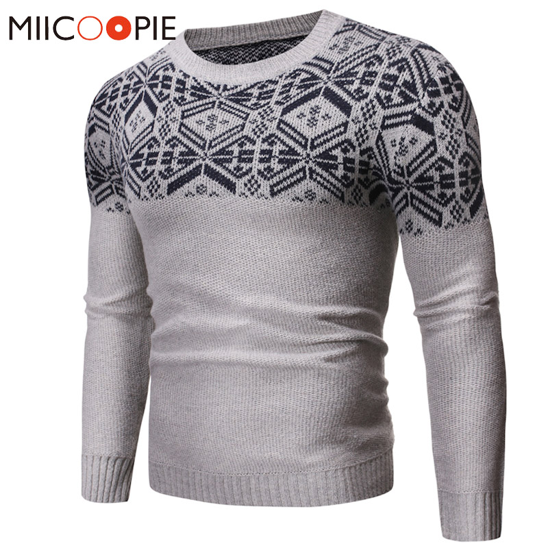 Mens Sweaters For 2019 Christmas Snowflake Printed Jumper Knitting Sweater Men Jacket Winter O-Neck Slim Fit Sueter Hombre S-XXL