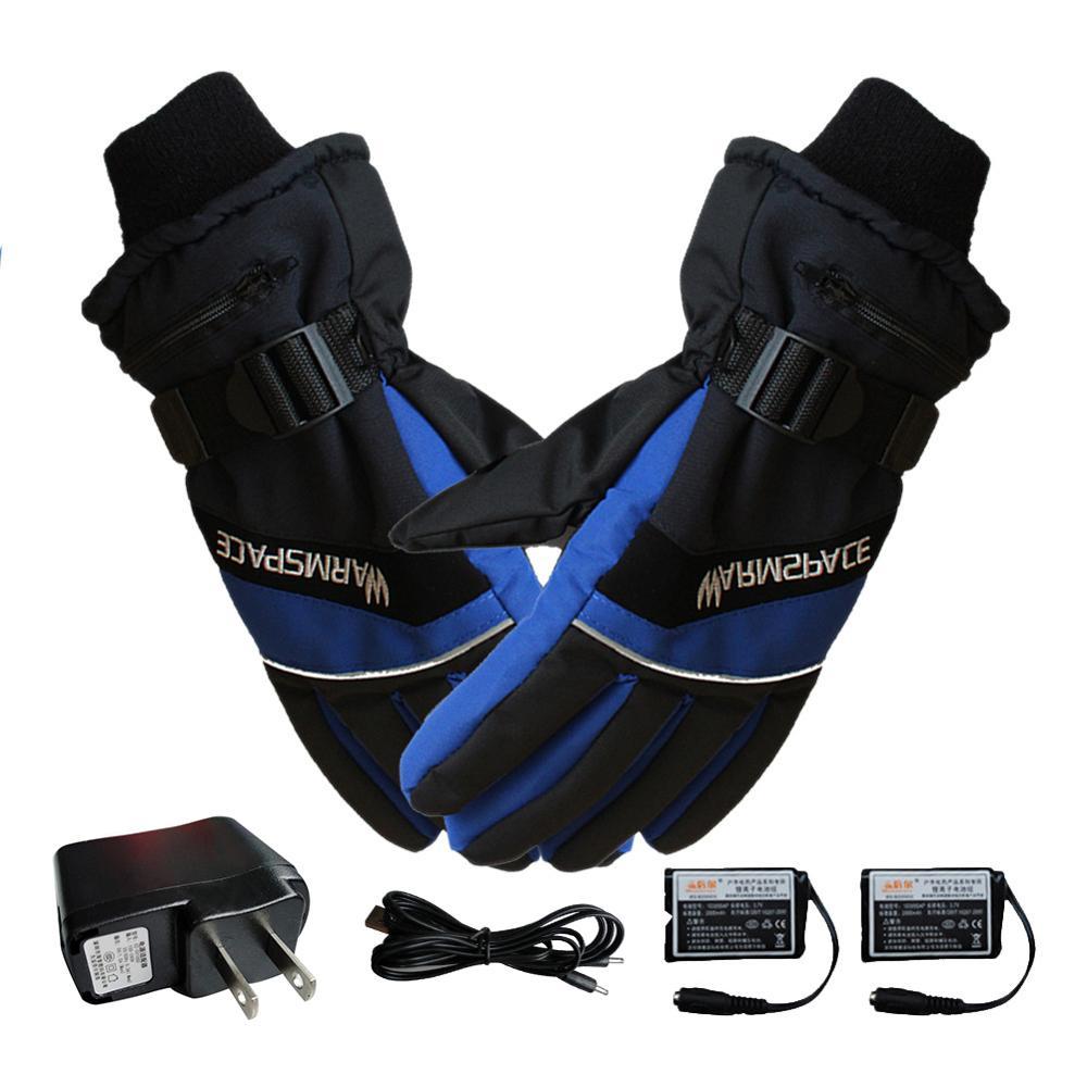 Winter Ski Usb Rechargeable Heated Gloves Mittens Warm Snowmobile Snowboard Ski Gloves
