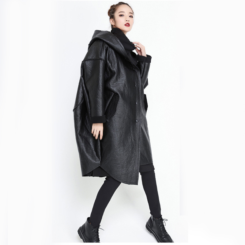 [EAM] Loose Fit Hooded Black Pu Leather Thick Oversize Jacket New Long Sleeve Women Coat Fashion Tide Autumn Winter 19 JG637 8