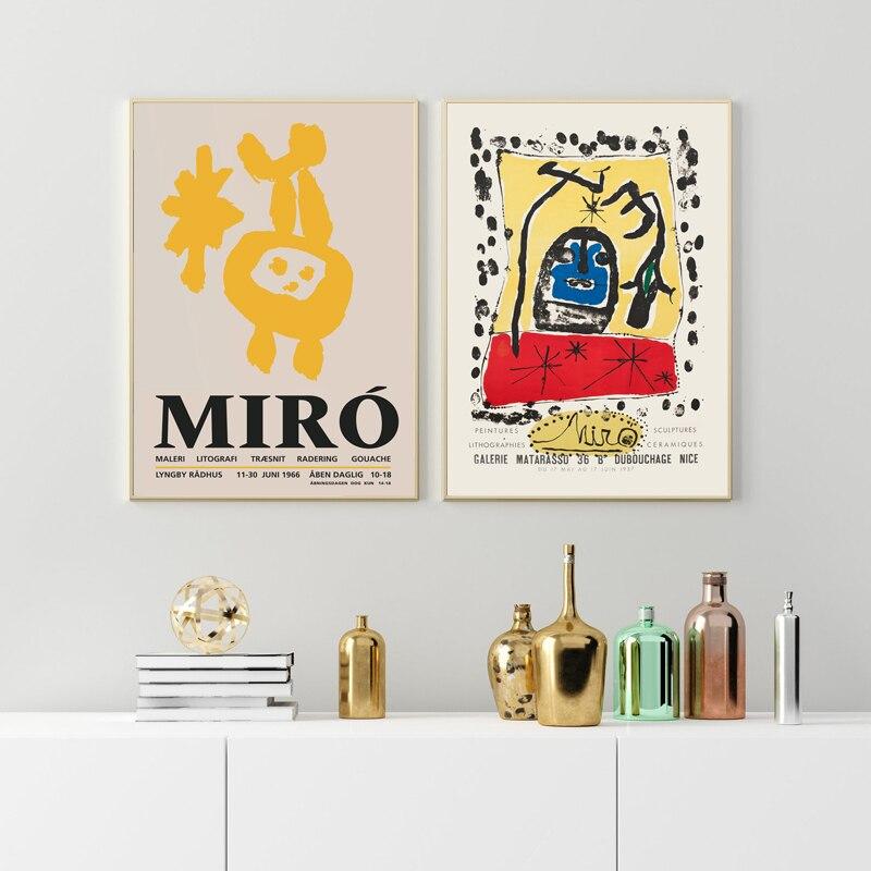 Винтажные абстрактные выставочные постеры и принты Джоан Миро, знаменитая живопись, настенные художественные картины, принты, декор в скан...