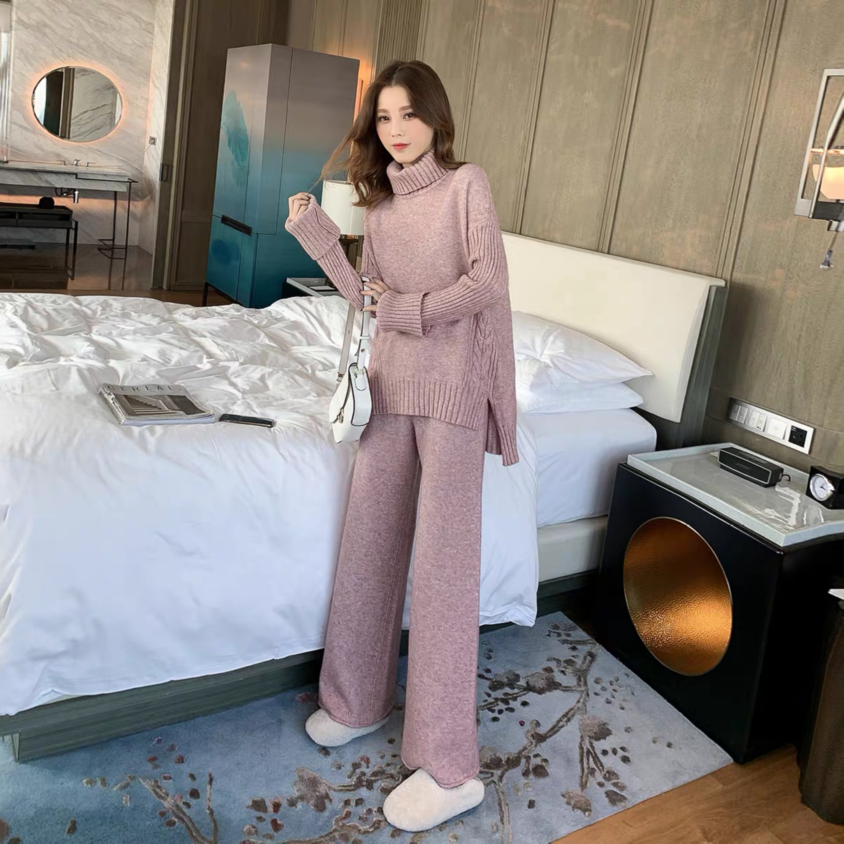 Make fashion suits autumn new women's clothing in Europe and the former single leisure trousers two piece jacquard knitting coat on AliExpress