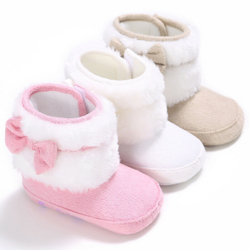 New Baby Girl Boy Snow Boots Winter Booties Infant Newborn Bow Shoes 0-18M