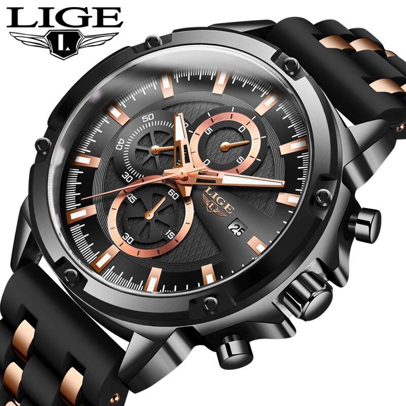2020 New Mens Watches Top Brand Luxury Watch Men Military Waterproof Silicone strap Quartz Wrist Watch For Men Sport Chronograph 5