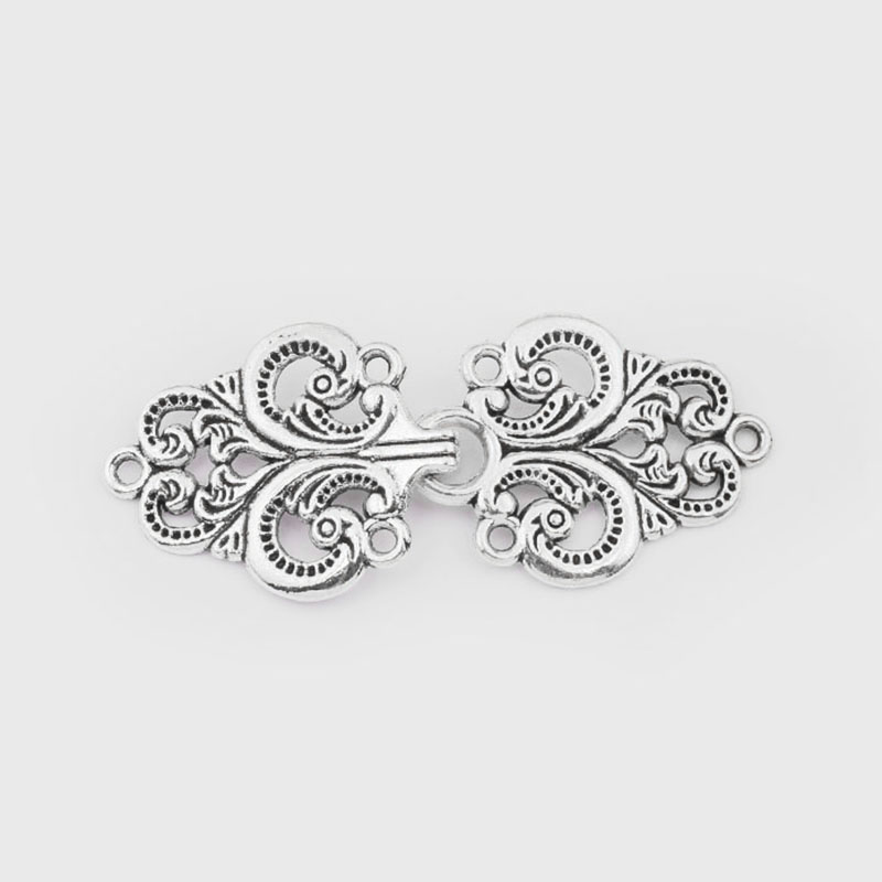 5sets Antique Silver Cardigan Clip Clasps Swirl Flower Cape Cloak Clasp Fasteners Sew On Hooks Eyes Cardigan Clip Metal Fastener