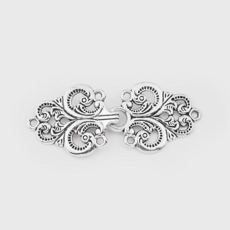 5sets Antique Silver Cardigan Clip Clasps Swirl Flower Cape Cloak Clasp Fasteners Sew On Hooks Eyes Cardigan Clip Metal Fastener