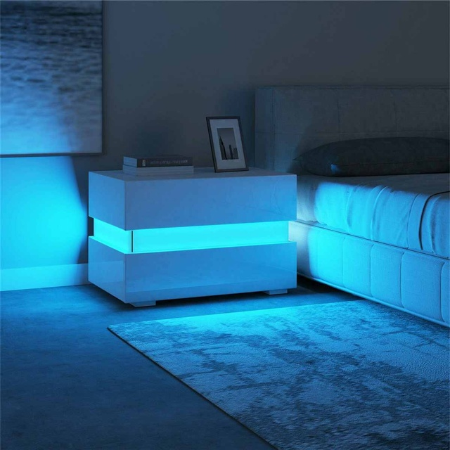 Multifunction Luxury LED Light Nightstands Drawers Organizer Storage Cabinet for Night Bedside Table Bedroom Home Furniture