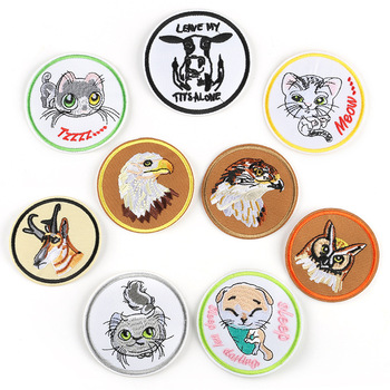 Animal Round Badge Cat Dog Owl Deer Milk Cow Eagle Bald Cute Embroidery Sticker Diy Outfits for Hat Vest Backpack Jacket image
