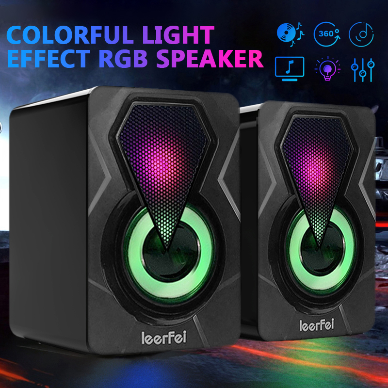 USB Wired Computer Speakers Bass Stereo Subwoofer Colorful LED Light Laptop Usb Subwoofer Desktop Game X2 Colorful Lighting