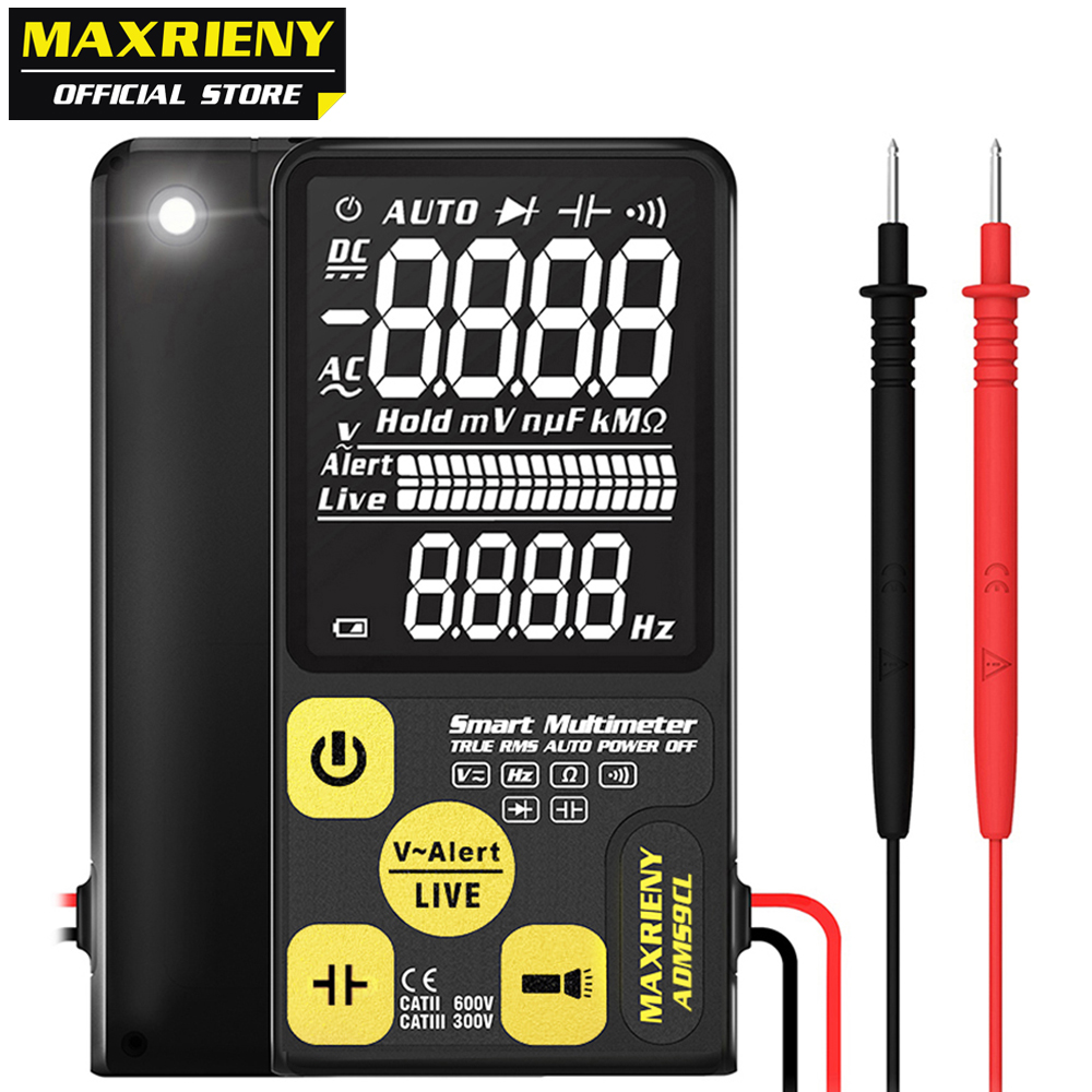 MAXRIENY ADMS9CL Digital Multimeter EBTN LCD Multifunction Voltmeter Voltage Frequency Resistance Capacitor Diode NVC Tester