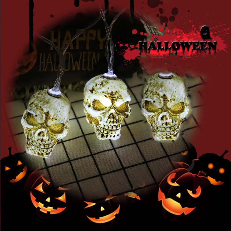 Scary Skull Shaped String Lights LED Garland Halloween Decorative Light Creative Party Hanging Decorations Supplies Prop II