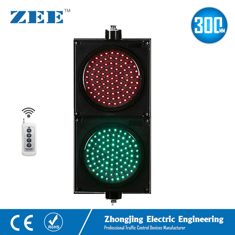 Wireless Control Remote Controller  12inches 300mm LED Red Green Traffic Signal Lights 220V 12Vdc 24Vdc LED Traffic Signs