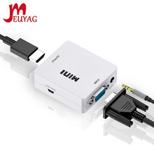 Портативный мини-конвертер MEUYAG VGA-HDMI VGA2HDMI, видео-бокс, аудиоадаптер 1080P для ноутбуков, ПК, HD ТВ-проекторов, телевизоров