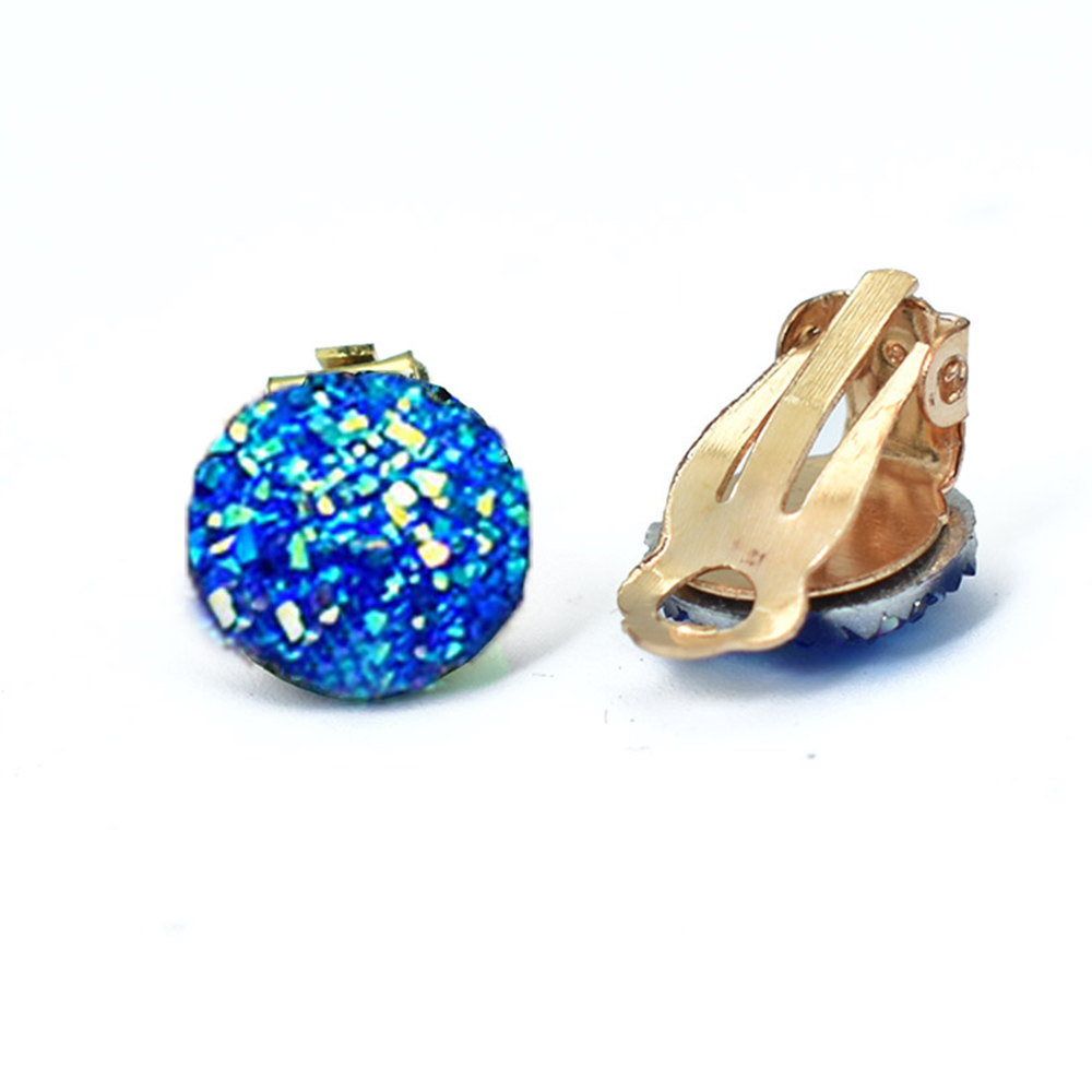 Bing Tu Gold Color Round Clip Earrings No Hole Blue White Geometric Earring Without Piercing Resin Ear Clips Crystal Jewelry