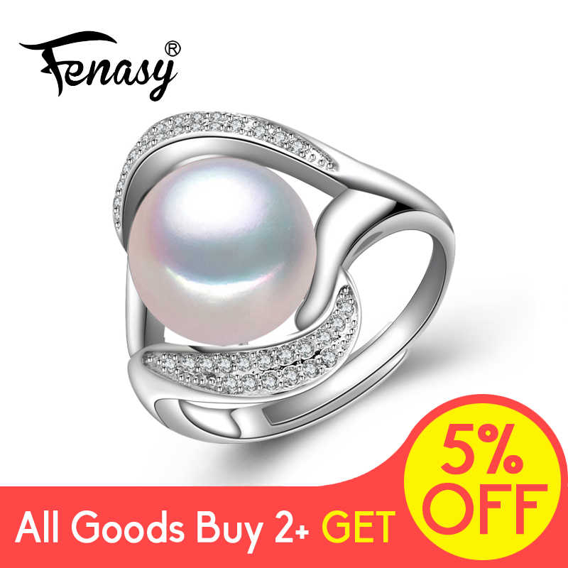 FENASY Pearl Jewelry 925 Sterling Silver Rings For Women Love Luxury Cubic Zirconia Engagement Promise Adjustable Ring Jewelry